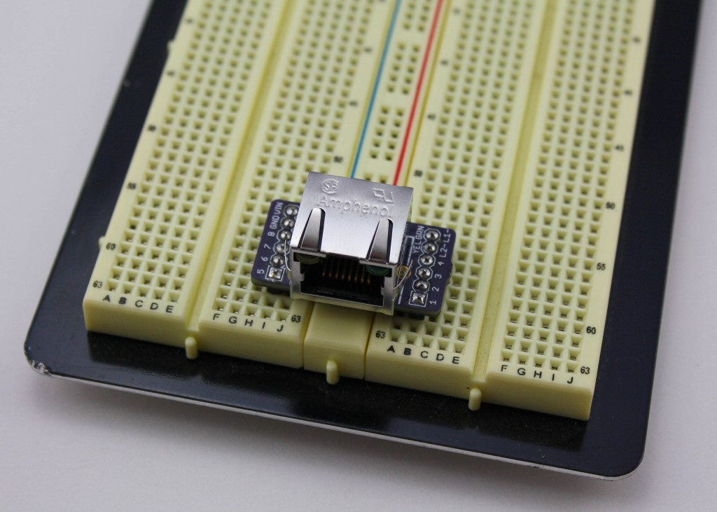 RJ45 breakout on a breadboard.